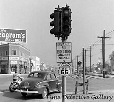 Route 66 Scene with Sign and Vintage Car, California 1940s Historic Photo Print