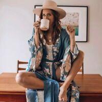 XL New Boho Floral Kimono Blue Maxi Duster Cardigan Vtg 70s Ins Womens X-LARGE