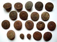 WW1 -COLLECTOR USA WAR BEAU Lot de 19 BOUTONS UNIFORMES PETITS ET GRANDS MODÈLES