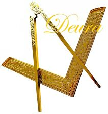 """Masonic Lodge Ceremonial GOLD PLATED 6"""" LARGE Square & Compass FOR Bible CLASS A"""