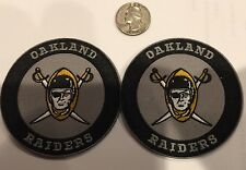 "(2)- VINTAGE IRON ON EMBROIDED PATCHES OAKLAND RAIDERS 3""Round/ Rare!"