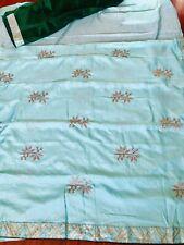 New Silk Saree Embroidery Silver Zari Wedding Party Blouse Not Kanchi Pattu