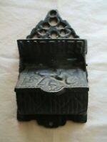 "Vintage Cast Iron Wall Mount MATCH SAFE Holder 6"" x 3.5"" Says ""MATCHES"" Nice Ex"