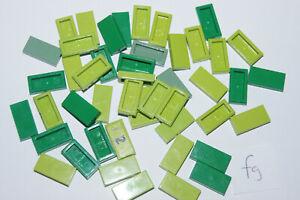 LEGO 47 1x2 GREEN smooth floor TILES / Blocks # 3069 HOUSE CASTLE (fg) GENUINE