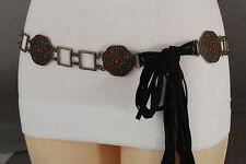 Women Antique Gold Metal Fashion Brown Tie Belt Hip Waist Red Charm Plus M L XL