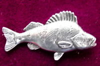 Pewter Perch Fishing Brooch Pin  Signed