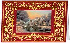 9 Christmas Holiday Snowy Bridge House Scene 5x7 Folded Cards Env Seals Usa