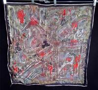"""RARE COLLECTABLE FRENCH VINTAGE 1950'S ERA ART PAINTING RAYON SCARF 25"""" X 27"""""""