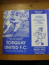 11/08/1990 Torquay United v Pumas [Friendly] (4 Pages, Slight Creased). Item In