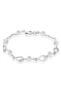 Feder Blatt Kristall Armband 925 Silber Kristalle Echtschmuck Geschenk