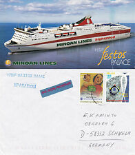 GREEK FERRY SHIP HSF FESTOS PALACE A SHIPS CACHED COVER & COLOUR POSTCARD