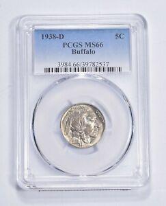 RARE Last Year - MS-66 1938-D Buffalo Nickel - Denver - Tough PCGS Graded *675