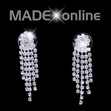 Small Dangle Drop 5 line Stud Earrings Diamante Bling