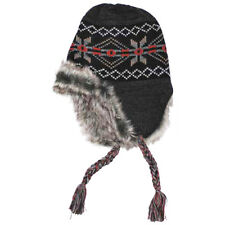 Peru Puno Warm Knitted Winter Mens Hat Cold Weather Beanie Fur Lining Black Grey