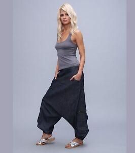 Jeans Drop Crotch Pants, Harem Denim Boho Pants, Low Crotch Pants