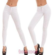 Jeans donna pantaloni strass skinny slim sigaretta elasticizzati nuovi H5820