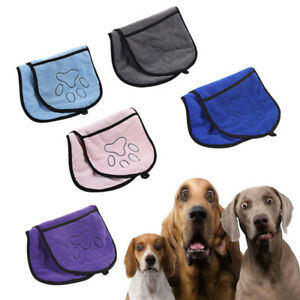 1x Pet Dog Towel Microfiber With Hand Pockets For Cats Dogs Puppy Towels