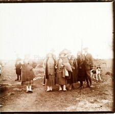 Photo entre Amis avec le chien ca 1920, Photo Stereo Vintage Plaque Verre VR3L10