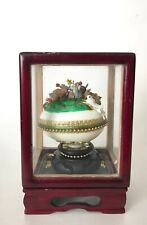 Antique Gilded Hand Made & Painted Real Hen Easter Egg in Glass Shadow Box Rare