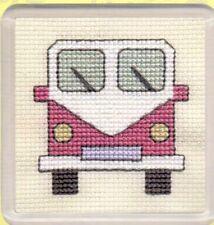"Textile Heritage Cross Stitch Coaster Kit ""Campervans (Pink)"""