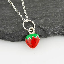 Tiny Strawberry Charm Necklace - 925 Sterling Silver, Enamel Red Fruit Summer