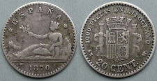 More details for spain, provisional government, silver 20 centimos 1870, madrid, very rare