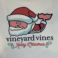 Vineyard Vines Classic Holiday Santa Whale L/S White Pocket T-shirt Sz 2XL~NEW