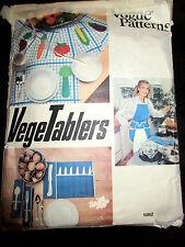 1892 VTG VOGUE Home Vegetablers Apron Oven Mitt Placemat Pot Hold Pattern CUT