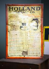 1920/30's HOLLAND FURNACE CO DISPLAY SIGN TIN METAL INDUSTRIAL ORANGE Michigan
