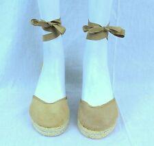 Victoria Secret Designer Colin Stuart Nude Sz 8.5 Ankle Wrap Around Wedge Sandal