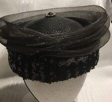 Vint Ladies Evening Toque Black Straw Sequins Topper Skull Cup Hat*