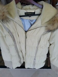 Rocawear women Puffer Down Jacket With Faux Fux hoodie. LaRGE ivory