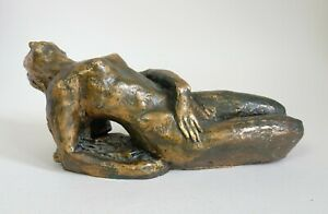 Vintage mid-20th century painted pottery sculpture of a Nude female (#3)
