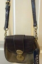 CHAPS Brown/Olive Plaid SORBONNE Small Leather/Canvas Purse NWT Reg. $59.99