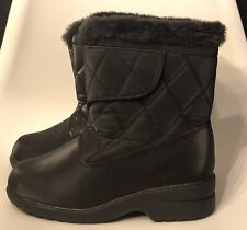 Vintage Soft Style 6 Hush Puppy Company Winter Boots Quilted Faux Fur Hook Loop