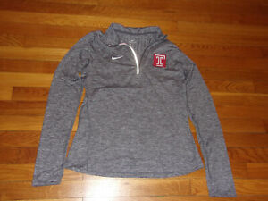 NIKE DRI-FIT TEMPLE OWLS 1/2 ZIP LONG SLEEVE PULLOVER JERSEY WOMENS MEDIUM EXC.