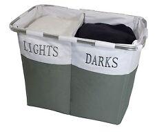 Folding Laundry Clothes Washing Storage Hamper Bag Basket Dark & Light 2 Section
