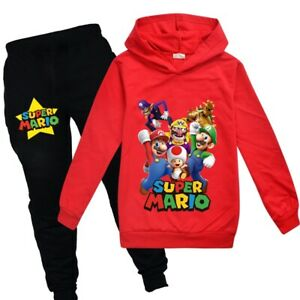 Super Mario Bowser Mushroom Fashion Boy Kid Sweatshirt Hoodies Clothes Pants set