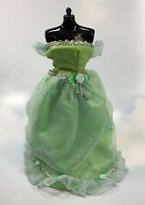 Barbie Doll Clothing: B label Green Fashion off the shoulder Dress Gown
