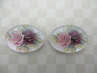 Qty 2 Vintage Pink Rose Cameos Chalkwhite Base German Oval 25X18mm Cabochons