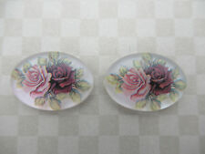 Vintage 18X13mm Cabochons Red & Pink Roses on Crystal Matte Cameos German Qty 2