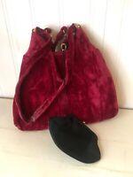 Vintage1930s-40s Dark Red Velvet Handbag/Purse Kiss lock Includes change purse