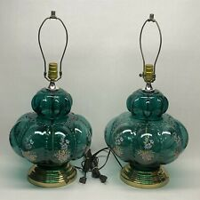 "Vintage E.F. Industries Pair Aqua Green Glass Table Lamp  24"" x 11"" Flowers EF"