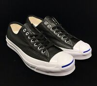 Converse Jack Purcell Signature Ox Black Leather White Blue Sole 151475C Low