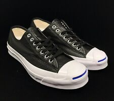 Converse Jack Purcell Signature Ox Black Leather White Blue Sole 151475C Low 9ca2387b8