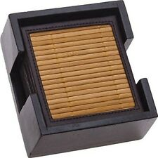 THIRSTYSTONE Bamboo and Faux Leather Coaster Set with Wooden Caddy Holder