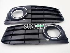 Front Bumper Fog Light Grille Cover For Audi A4 A4L B8 2009-2012 Black 1 Pair