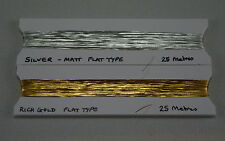 REAL GOLD AND SILVER FLAT THREAD 50m, 25m OF EACH. SPECIAL OFFER PACK. GOLDWORK