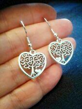 QUIRKY TREE OF LIFE HEART CHARM EARRINGS BOHO KITSCH RETRO VINTAGE FUN & FUNKY
