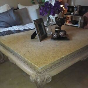"""61x46x17"""" Large beautifully light wood and marble living room table"""
